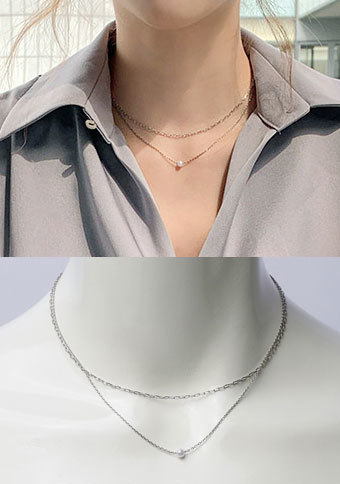 [CHUU] Pearl double layered necklace